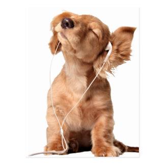 Ung valp som lyssnar till musik på hörlurar vykort