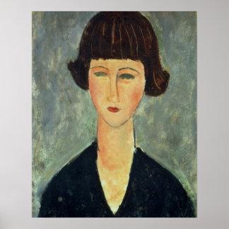 Unga Brunett, 1917 (olja på kanfas) Poster