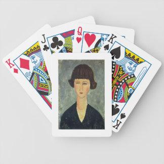 Unga Brunett, 1917 (olja på kanfas) Spelkort