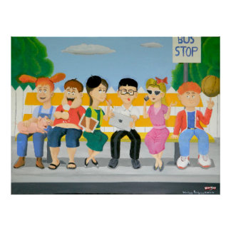 Ungar på hållplatsen - affisch poster