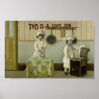 Ungar som bakar affischen för vintagekonsttryck affischer