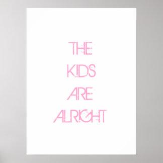 Ungarna är Alright den rosa typografiaffischen Poster