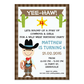UngeCowboyfödelsedagsfest inbjudan