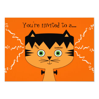 Ungehalloween festinbjudan - Frankenstein katt 12,7 X 17,8 Cm Inbjudningskort