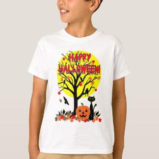 UngeHalloween svart katt, kråkor och gul måne Tee Shirt