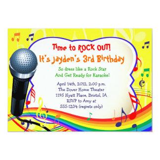 Ungemusik/sjunga/Karaoke färgrik inbjudan