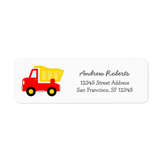 Ungereturetiketter med leksaklastbilen returadress etikett