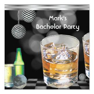 Ungkarlpartymanar silver 2 för svart för drinkar fyrkantigt 13,3 cm inbjudningskort