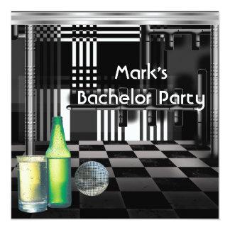 Ungkarlpartymanar svartvitt silver för drinkar fyrkantigt 13,3 cm inbjudningskort