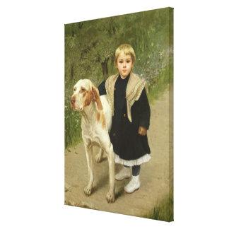 Ungt barn och en stor hund (olja på kanfas) canvastryck