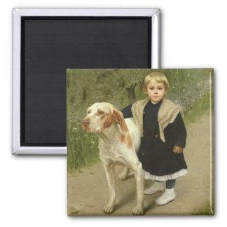 Ungt barn och en stor hund (olja på kanfas) magnet