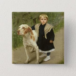 Ungt barn och en stor hund (olja på kanfas) standard kanpp fyrkantig 5.1 cm