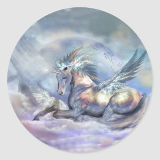 Unicorn av fredkonstklistermärken runt klistermärke