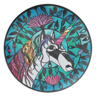 Unicorn - den Papercut designmelaminen pläterar Tallrik