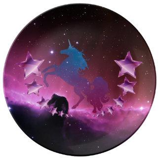 Unicorn med stjärnor porslinstallrik