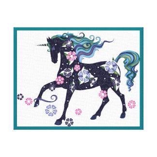 Unicorn - mörk - blått canvastryck