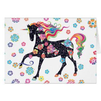 Unicorn - mörk - blått hälsningskort