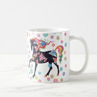 Unicorn - mörk - blåttRainbpw blommor Kaffemugg