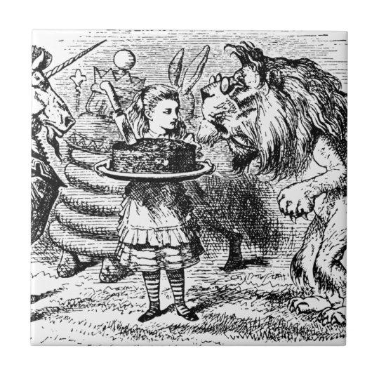 Unicorn och lejont liten kakelplatta
