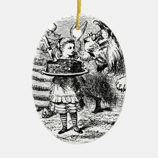 Unicorn och lejont ovalformad julgransprydnad i keramik