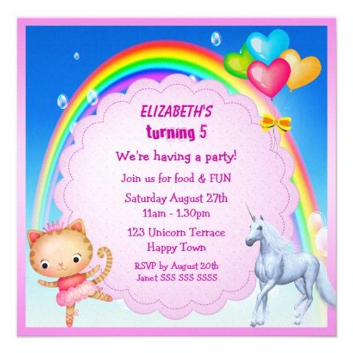Unicorn, Princess Kattunge & regnbågepartyinbjudan Personliga Tillkännagivande