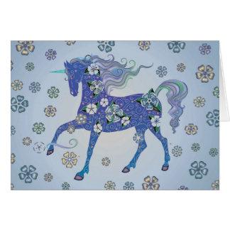 Unicornblek - blått i blommor hälsningskort