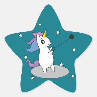 Unicornen bultar kastklistermärkear stjärnformat klistermärke