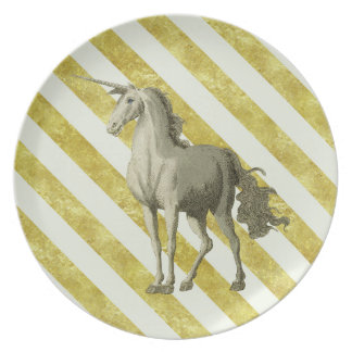 Unicornen Malamine för guld- & krämrandvintage Tallrik