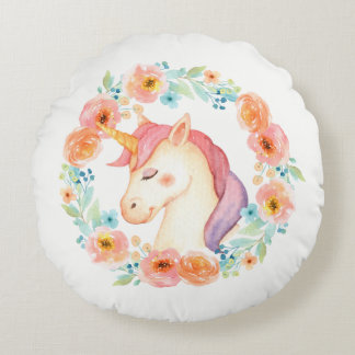 Unicornen med den blom- kranen kudder rund kudde