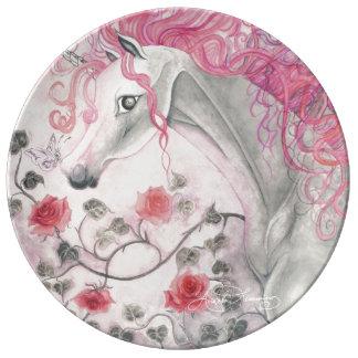 Unicornen och ro porslinstallrik