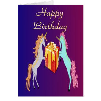 Unicornfödelsedagkort Hälsningskort