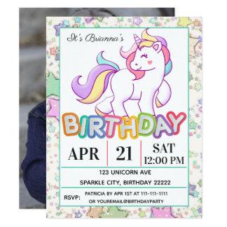 Unicornfödelsedagsfest 10,8 X 14 Cm Inbjudningskort