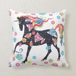 Unicornmörk - blåttregnbågeblommor kudde