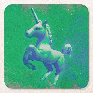 Unicornpartyunderlägg (den glödande smaragden) underlägg papper kvadrat