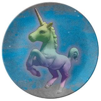 Unicornporslin pläterar dekoren (blåttnebulaen) porslinstallrik