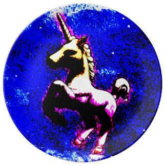 Unicornporslin pläterar dekoren (den Punk Porslinstallrik
