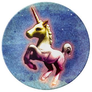Unicornporslin pläterar dekoren (galaxShimmer) Porslinstallrik