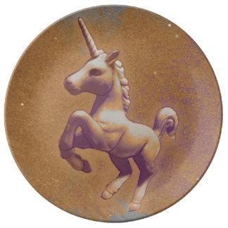Unicornporslin pläterar dekoren (metalllavendel) porslinstallrik