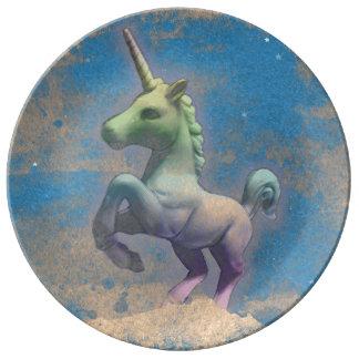 Unicornporslin pläterar dekoren (sandiga blått) porslinstallrik