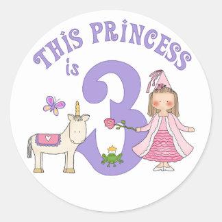 UnicornPrincess 3rd födelsedag Runt Klistermärke