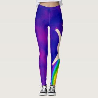 Unicorns- och regnbågevattenfärgpartyet utrustar leggings