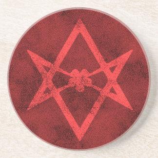 Unicursal Hexagram (texturerat rött) Underlägg