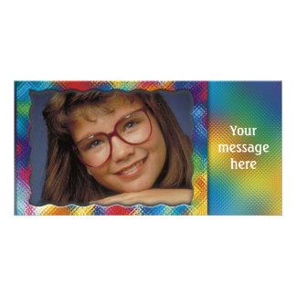 Unik färgrik fotoram med ditt meddelande fotokort