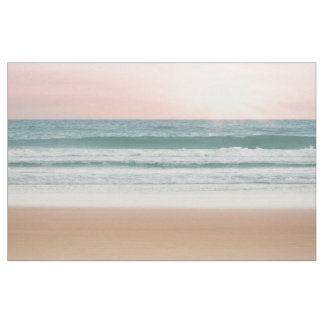 Unik strand för ro för tygsolnedgångblått tyg