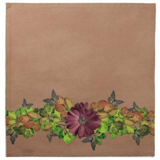 Unika löv för fjärilsnedgångbrunt tygservett