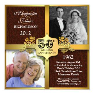 unika två 50th årsdaginbjudningar för foto fyrkantigt 13,3 cm inbjudningskort