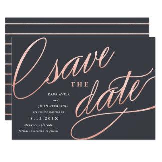 Unikt modernt sparade datumen   rosa guld 12,7 x 17,8 cm inbjudningskort