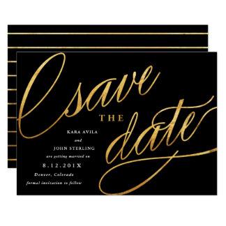 Unikt modernt sparade datumen   svart & guld 12,7 x 17,8 cm inbjudningskort