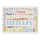 Unisex- grattis på födelsedagentypografivykort vykort