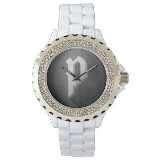 (Unisex-) Poetdobbelarmbandsur (vit, diamant) Armbandsur